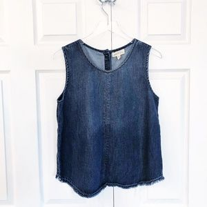 Cloth & Stone Denim Button Back Sleeveless Top